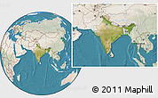 Satellite Location Map of India, lighten, land only