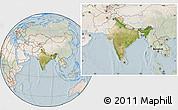 Satellite Location Map of India, lighten