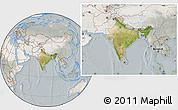 Satellite Location Map of India, lighten, semi-desaturated