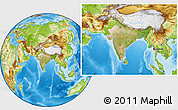 Satellite Location Map of India, physical outside