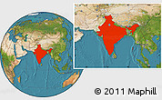 Satellite Location Map of India
