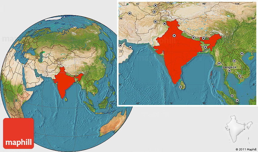 Setelight Map Of India.Satellite Location Map Of India