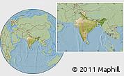 Satellite Location Map of India, savanna style outside, hill shading