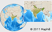Satellite Location Map of India, shaded relief outside