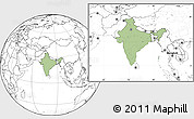Savanna Style Location Map of India, blank outside