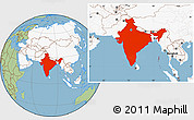 Savanna Style Location Map of India, highlighted continent