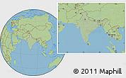 Savanna Style Location Map of India, hill shading inside