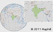 Savanna Style Location Map of India, lighten, desaturated