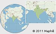 Savanna Style Location Map of India, lighten, land only