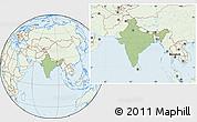 Savanna Style Location Map of India, lighten
