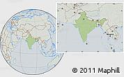 Savanna Style Location Map of India, lighten, semi-desaturated
