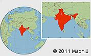 Savanna Style Location Map of India