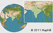 Savanna Style Location Map of India, satellite outside