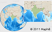 Savanna Style Location Map of India, shaded relief outside