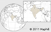 Shaded Relief Location Map of India, blank outside