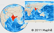 Shaded Relief Location Map of India, within the entire continent
