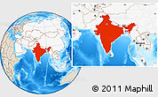 Shaded Relief Location Map of India, highlighted continent