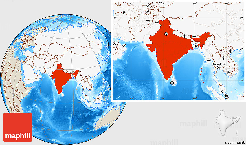 Shaded relief location map of india highlighted continent 2d gumiabroncs Images
