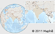 Shaded Relief Location Map of India, lighten