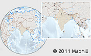 Shaded Relief Location Map of India, lighten, semi-desaturated