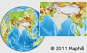 Shaded Relief Location Map of India, physical outside