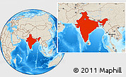 Shaded Relief Location Map of India