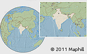 Shaded Relief Location Map of India, savanna style outside, hill shading