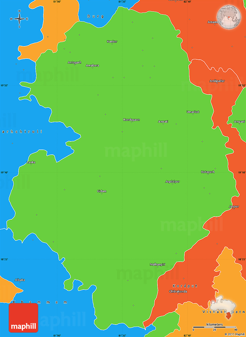 political simple map of bastar jagdalpur