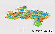Political Panoramic Map of Madhya Pradesh, cropped outside