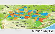 Political Panoramic Map of Madhya Pradesh, physical outside