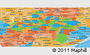 Political Panoramic Map of Madhya Pradesh, political shades outside