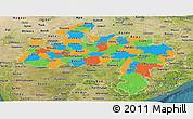 Political Panoramic Map of Madhya Pradesh, satellite outside