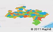 Political Panoramic Map of Madhya Pradesh, single color outside