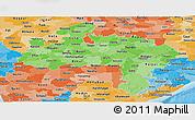 Political Shades Panoramic Map of Madhya Pradesh