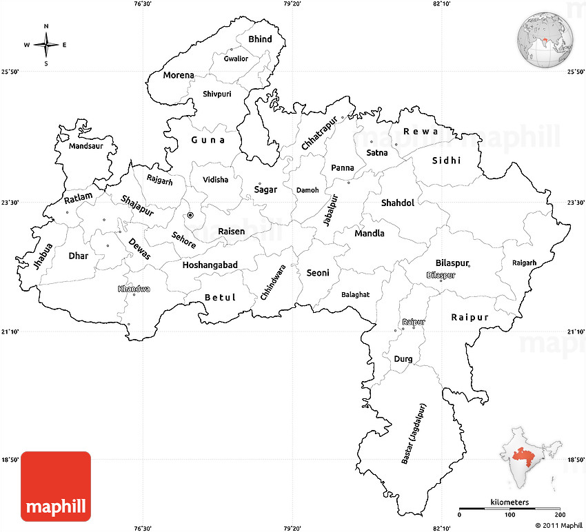 Blank Simple Map of Madhya Pradesh, cropped outside