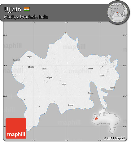 Free Gray Map Of Ujjain Single Color Outside - Ujjain map
