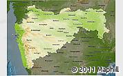 Physical 3D Map of Maharashtra, darken