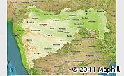 Physical 3D Map of Maharashtra, satellite outside