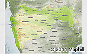 Physical 3D Map of Maharashtra, semi-desaturated