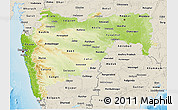 Physical 3D Map of Maharashtra, shaded relief outside