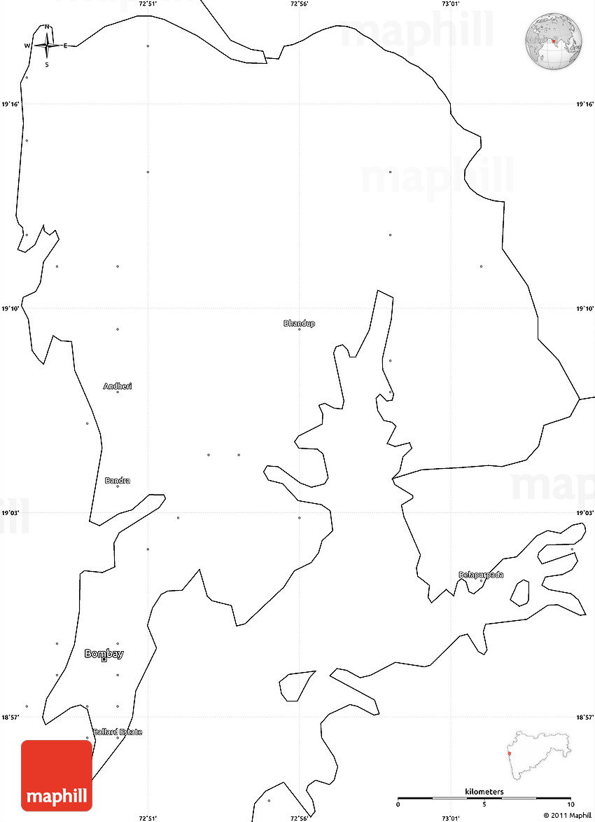 blank simple map of greater bombay