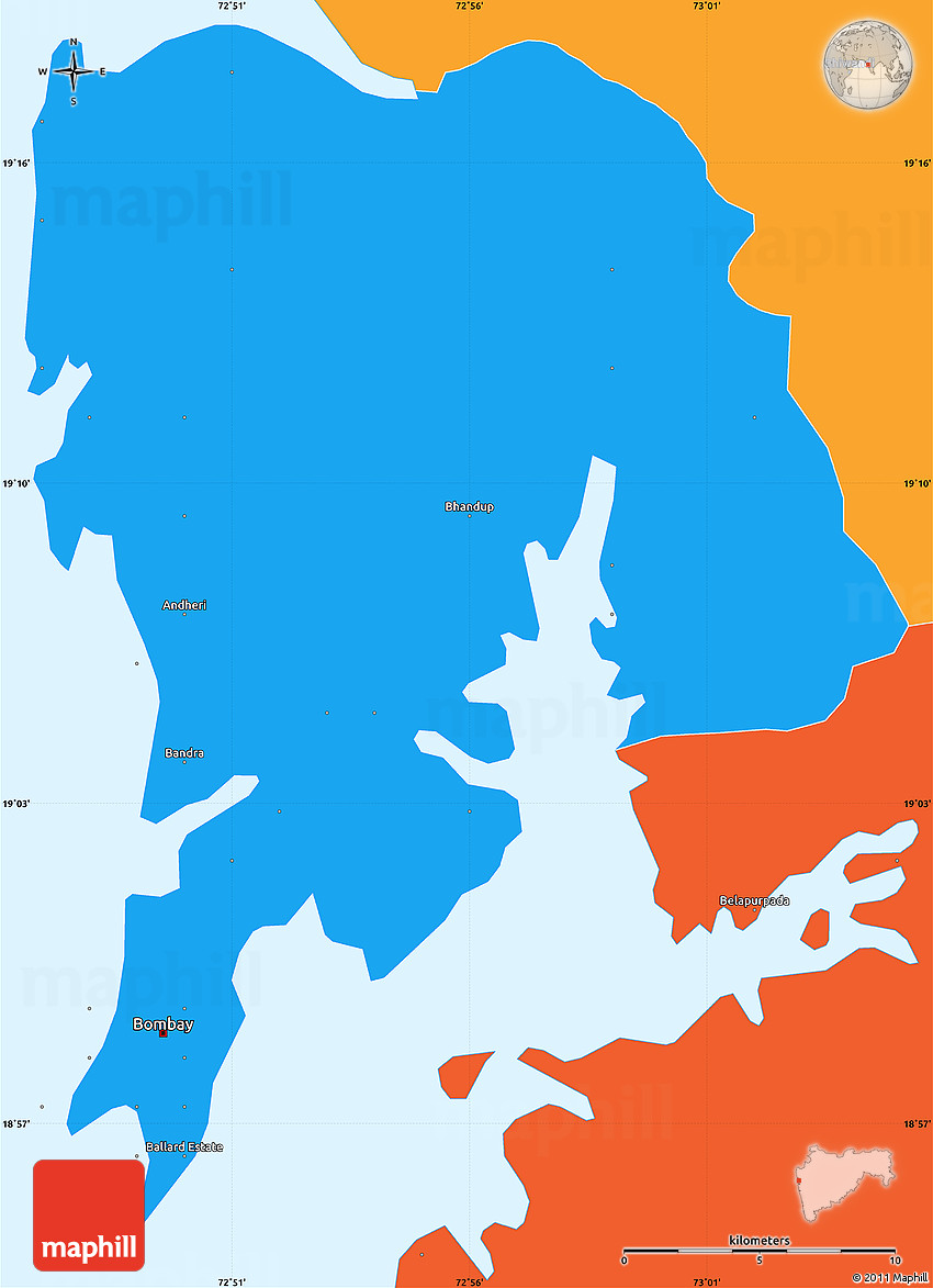 political simple map of greater bombay