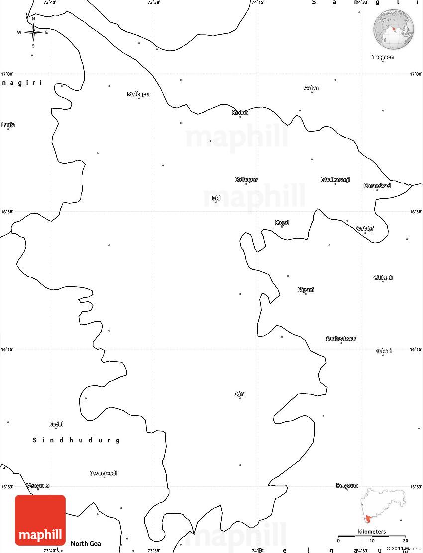 blank simple map of kolhapur
