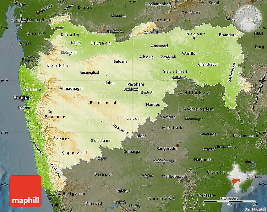 Physical Map Of Maharashtra Darken