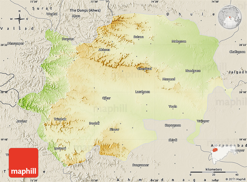 Physical Map of Nashik shaded relief outside