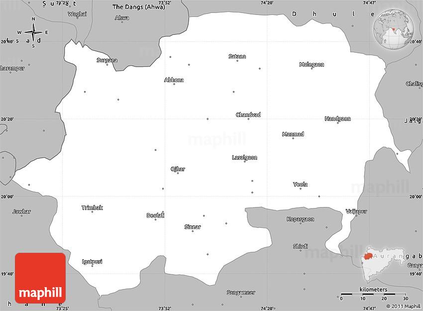 Gray Simple Map of Nashik