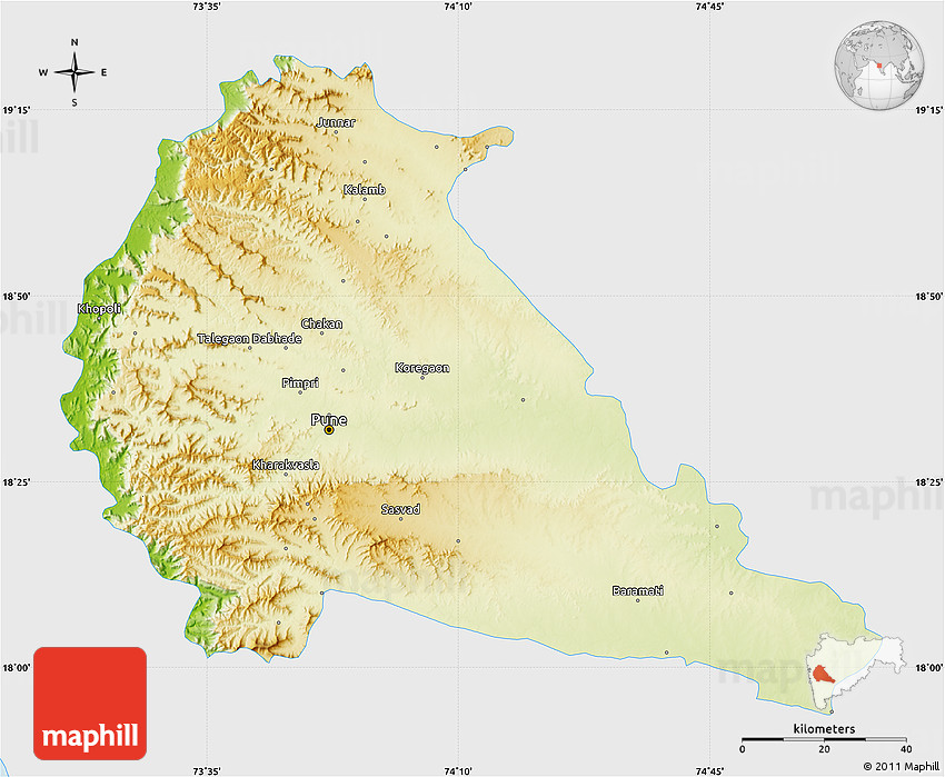 Physical Map of Pune, single color outside on map of nainital india, map of kolhapur india, map of shimoga india, map of meghalaya india, map of warangal india, map of bay of bengal india, map of rajkot india, map of agra india, map of hardoi india, map of kutch india, map of kollam india, map of kerala india, map of akola india, map of guntur india, map of mumbai india, map of chennai india, map of daman india, map of gorakhpur india, map of nellore india, map of kanpur india,
