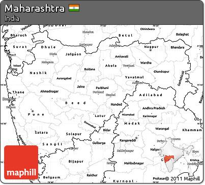 Free Blank Simple Map of Maharashtra