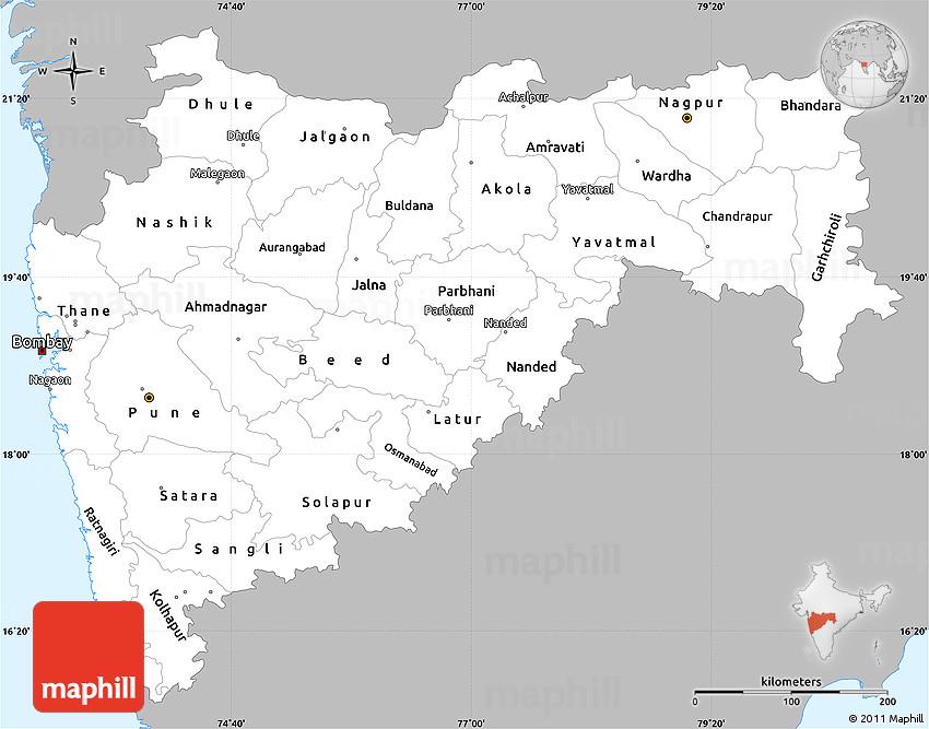 Gray Simple Map of Maharashtra, single color outside on ajanta on map, goa map, bihar map, india map, nagaland map, arunachal pradesh map, madhya pradesh map, kashmir map, andhra pradesh map, west bengal map, aurangabad map, nagpur map, chhatrapati shivaji international airport map, meghalaya map, pune region map, punjab map, gujarat map, palghar district map, tripura map, mumbai map,