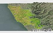 Satellite Panoramic Map of Sindhudurg, semi-desaturated